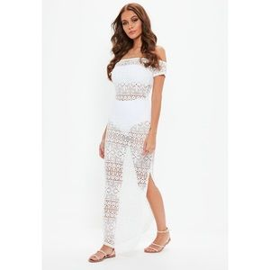 White Crochet Bardot Maxi Dress